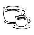 set big and small cup of coffee with handle vector image vector image