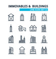 set buildings design style decorative icons vector image