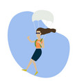 skydiving woman flat style colorful vector image