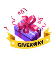 social media giveaway giving present gift box vector image vector image
