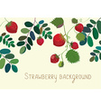 Strawberry background with leaves vector image vector image