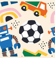 toys car robot abstract shape seamless pattern vector image