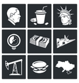 USA policy Icons Set vector image vector image