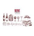 wine set hand drawn elements 3 vector image
