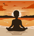 woman silhouette doing yoga on beach at sunset vector image