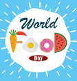 world food day healthy lifestyle lettering fruit vector image vector image