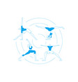 yoga pose people set in blue outline style vector image