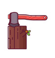 axe chopping wood icon vector image