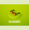 glasses isometric icon isolated on color vector image