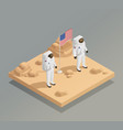 american astronauts isometric composition vector image vector image