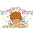baby boy with party flags decoration vector image