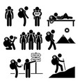 backpack traveler explorer stick figure pictograph vector image