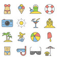 beach thin line flat icons summer signs vector image vector image