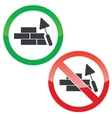 Build wall permission signs set vector image vector image