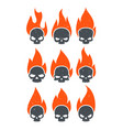 burning skulls icons vector image vector image