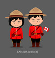 canadians in national dress with a flag vector image vector image