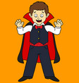 cartoon boy in vampire costume vector image vector image