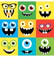 cartoon monster faces set cute square vector image vector image