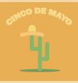 cinco de mayo sombrero and cactus - festive flat vector image