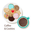coffee and cookies vector image