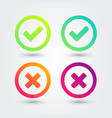 colorful flat gradient checkmark icon set vector image