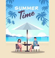 couple summer vacation man woman drink wine vector image vector image