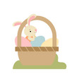 cute bunny sitting in basket full of decorated vector image vector image