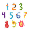 cute cartoon number set for teaching children or vector image