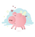 cute pink pig with hearts vector image vector image