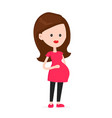 cute smaling happy pregnant woman vector image vector image