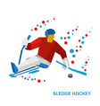 disabled sledge hockey player with sticks on ice vector image vector image