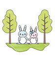 doodle cute couple rabbit animal in the landscape vector image vector image
