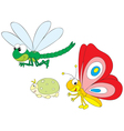 dragonfly greenfly and butterfly vector image vector image