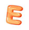 e orange glossy bright english letter kids font vector image vector image