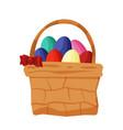 easter basket with eggs wicker basket vector image