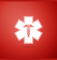 emergency star - medical caduceus snake with stick vector image vector image