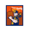 factory worker with sledgehammer vector image vector image