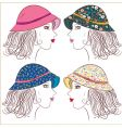 fashion girls in panamas vector image vector image