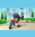 father jogging while pushing a stroller vector image