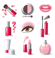 Glamourous make-up icons set vector image
