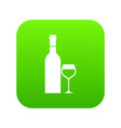 glass and bottle of wine icon digital green vector image