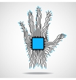 Hand Cpu Circuit board vector image vector image