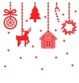 hanging christmas toys decoration vector image vector image
