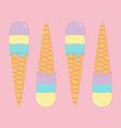 ice cream wafer cone icon set pastel color hello vector image