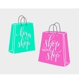 Lettering on shopping bag shape vector image vector image