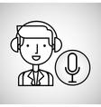 man hand drawing listening music microphone vector image vector image