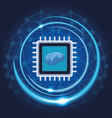 microchip with brain vector image