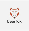 minimalist line art geometric bear and fox logo vector image