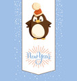 new year greeting card penguin in santa hat vector image vector image