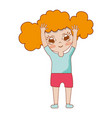 pretty girl with hands up and casual wear vector image vector image